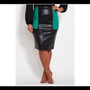 Color bloc faux leather skirt